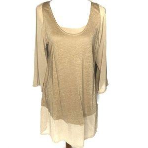 Soft Surroundings Linen Tunic Top Sheer Sleeves M